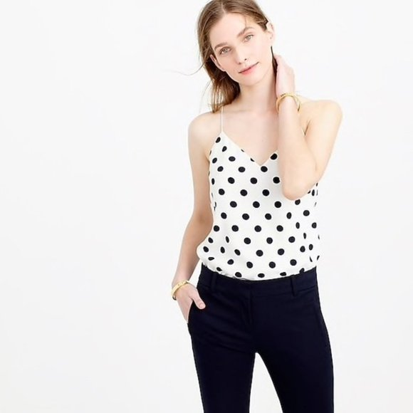J. Crew Silk Carrie Camisole in Polka Dot